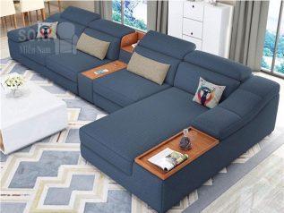 Bộ ghế sofa vải nỉ màu xanh dương góc L có giường nằm hiện đại lịch sự sang trọng SV023