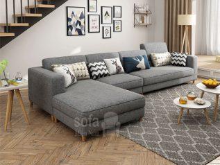 ghế sofa vải nỉ màu xám trang nhã góc chữ L nhiều chỗ ngồi có giường nằm tiện lợi SV033