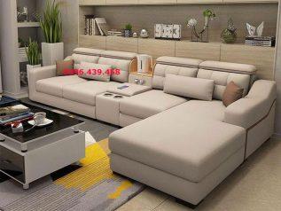 Bộ ghế sofa vải nỉ góc L có giường nằm êm ái rộng rãi thoải mái và khay để đồ tiện lợi SV024