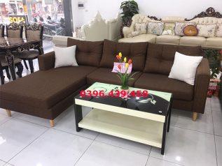 Bộ ghế sofa vải nỉ màu nâu sô cô la góc L nhỏ gọn có giường nằm êm ái rộng rãi thoải mái SV025