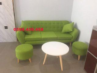 Băng ghế sofa vải nỉ màu xanh nhỏ gọn xinh xắn dễ bố trí trong nhà SV026