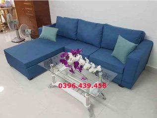 Ghế sofa vải nỉ màu xanh dương góc L hiện đại được ưa chuộng có giường nằm êm ái rộng rãi thoải mái SV028