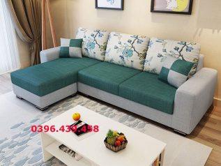 Ghế sofa vải nỉ màu xanh lá góc L hiện đại được ưa chuộng có giường nằm êm ái rộng rãi thoải mái SV030