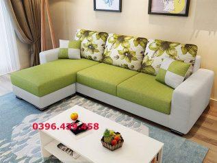 Ghế sofa vải nỉ màu xanh đọt chuối góc L hiện đại được ưa chuộng có giường nằm êm ái rộng rãi thoải mái SV030