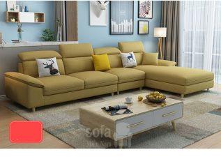 Bộ ghế sofa vải nỉ nhập khẩu màu vàng hiện đại góc chữ L nhiều chỗ ngồi có giường nằm SV031