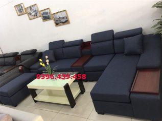 Ghế sofa vải nỉ màu xanh dương đậm tuyệt đẹp góc L hiện đại được ưa chuộng có giường nằm êm ái rộng rãi thoải mái SV032