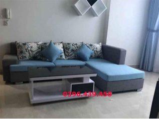 Ghế sofa vải nỉ màu xanh dương phối xám góc L hiện đại được ưa chuộng có giường nằm êm ái rộng rãi thoải mái SV034