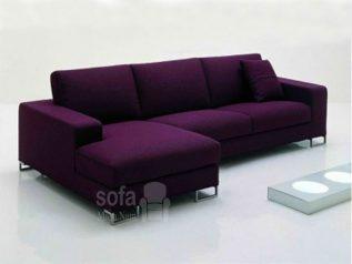 Ghế sofa vải nỉ giá rẻ màu tím góc L kèm giường nằm thư giãn êm ái rộng rãi thoải mái SV134