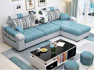 Ghế sofa vải nỉ giá rẻ màu xanh dương nhạt góc L kèm giường nằm thư giãn êm ái rộng rãi thoải mái SV135