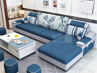 Ghế sofa vải nỉ giá rẻ màu xanh dương vừa đẹp vừa sang góc L kèm giường nằm thư giãn êm ái rộng rãi thoải mái SV136