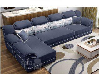 Ghế sofa vải nỉ giá rẻ màu xanh dương đậm viền trắng vừa đẹp vừa sang góc L kèm giường nằm thư giãn êm ái rộng rãi thoải mái SV137