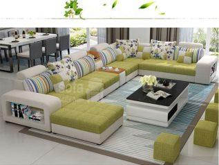 Ghế sofa vải nỉ giá rẻ màu vàng ánh xanh góc U bề thế nhiều chỗ ngồi có hộc đồ kèm giường nằm thư giãn êm ái rộng rãi thoải mái SV138