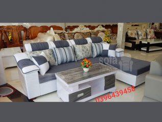 Ghế sofa vải nỉ giá rẻ màu xám vừa đẹp vừa sang góc L kèm giường nằm thư giãn êm ái rộng rãi thoải mái SV139
