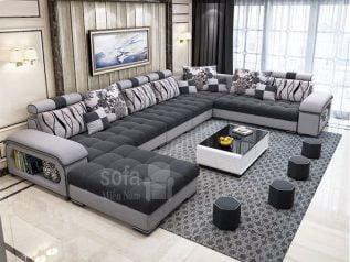 Ghế sofa vải nỉ giá rẻ màu xám góc chữ U bề thế nhiều chỗ ngồi có khay đồ tiện lợi khi sử dụng tối ưu diện tích SV140