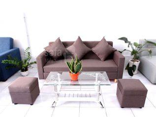 Băng ghế sofa vải nỉ giá rẻ màu nâu sô cô la nhạt tuyệt đẹp kiểu dáng đơn giản nhưng kết cấu chắc chắn đẹp nhỏ gọn SV142