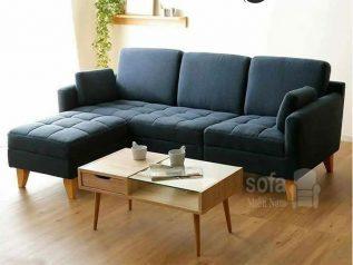 Ghế sofa vải nỉ giá rẻ màu xanh dương đậm góc L kèm giường nằm thư giãn êm ái rộng rãi thoải mái SV143