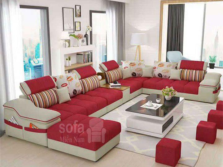 Ghế sofa vải nỉ giá rẻ màu đỏ tuyệt đẹp góc chữ U bề thế nhiều chỗ ngồi có khay đồ tiện lợi khi sử dụng tối ưu diện tích SV145