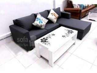 Ghế sofa vải nỉ giá rẻ màu xám góc L kèm giường nằm thư giãn êm ái rộng rãi thoải mái SV146