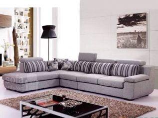 Ghế sofa vải nỉ giá rẻ màu xám nhạt gối phối sọc nổi bật góc L kèm giường nằm thư giãn êm ái rộng rãi thoải mái SV147