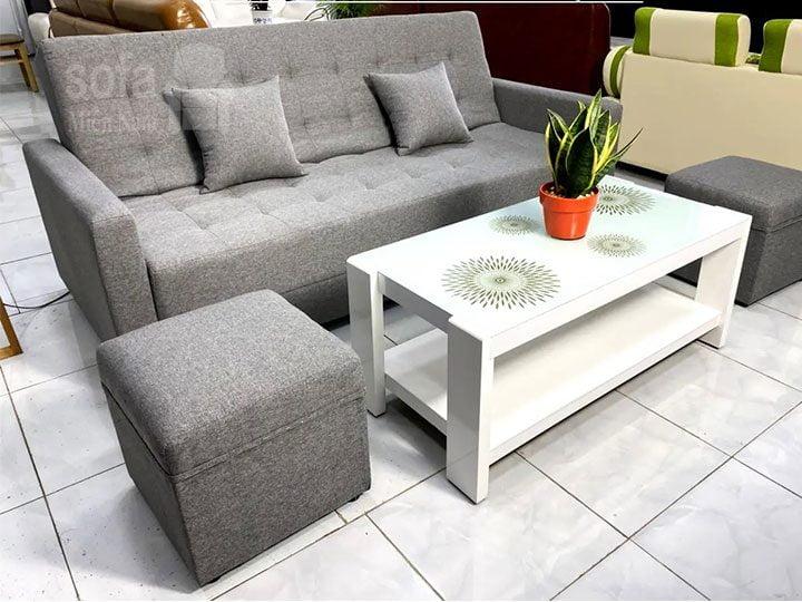 Ghế sofa vải nỉ giá rẻ băng đơn màu xám nệm ngồi dày êm ái rộng rãi thoải mái SV148