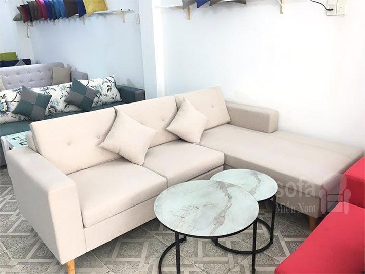 Ghế sofa vải nỉ giá rẻ màu trắng kiểu dáng góc L đơn giản nhưng kết cấu chắc chắn đẹp nhỏ gọn SV149