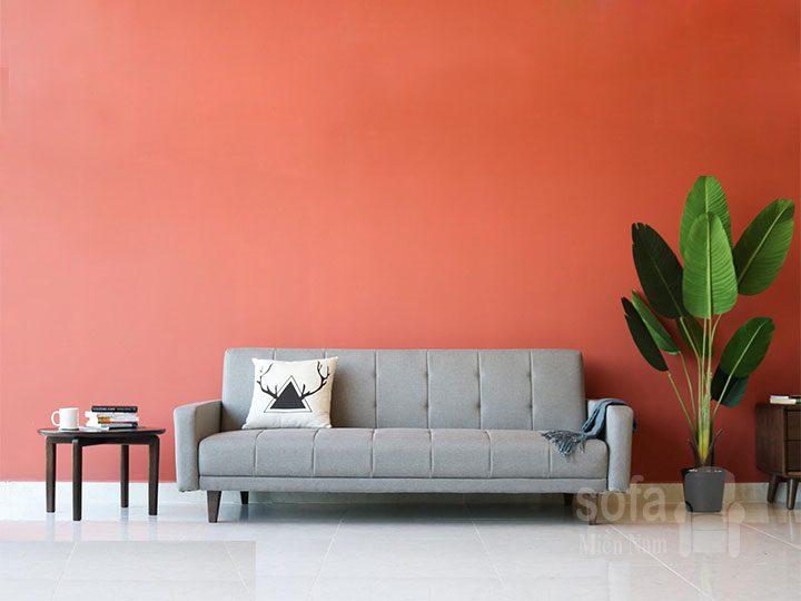 Băng ghế sofa vải nỉ giá rẻ màu xám kiểu dáng đơn giản nhưng kết cấu chắc chắn, đẹp nhỏ gọn SV150