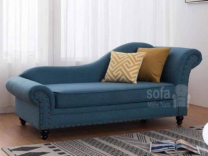 Băng ghế sofa vải nỉ giá rẻ màu xanh kiểu dáng đơn giản nhưng kết cấu chắc chắn, đẹp nhỏ gọn tuyệt vời để tiếp khách hay nằm thư giãn SV153