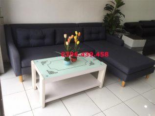 Ghế sofa vải nỉ nhập khẩu giá rẻ góc chữ L có giường nằm được phối màu xám đậm trang nhã SV020