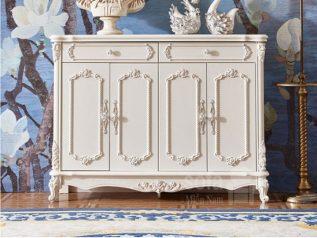 Mẫu tủ giày dép gỗ tân cổ điển nhập khẩu màu trắng rất đẹp và sang trọng TG001