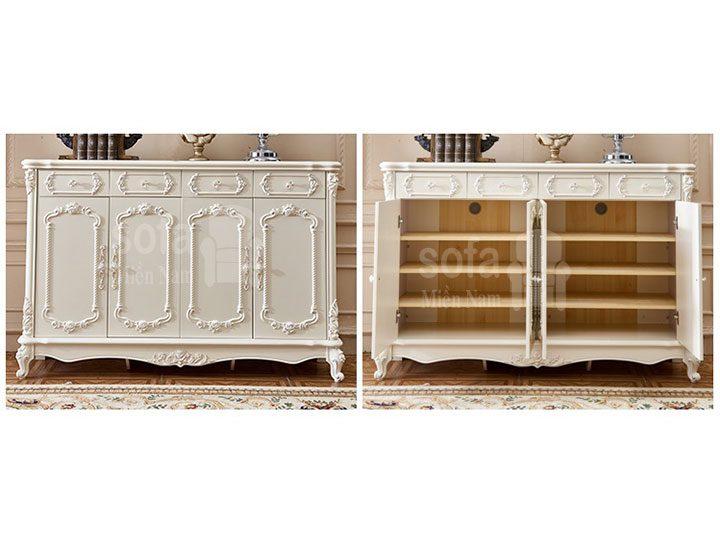 Mẫu tủ giày dép gỗ tân cổ điển nhập khẩu đẹp giá rẻ có nhiều ngăn đựng rất tiện TG001