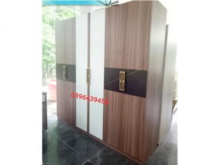 Tủ quần áo gỗ thiết kế hiện đại nâu sọc trắng vô cùng nổi bật TA009