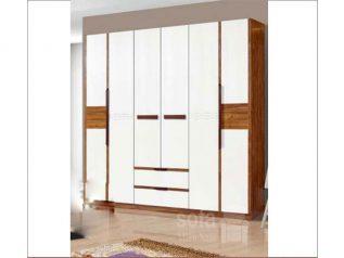 Tủ quần áo hiện đại nhập khẩu phối màu nhẹ nhàng có điểm nhấn về màu sắc đẹp hài hòa TA002