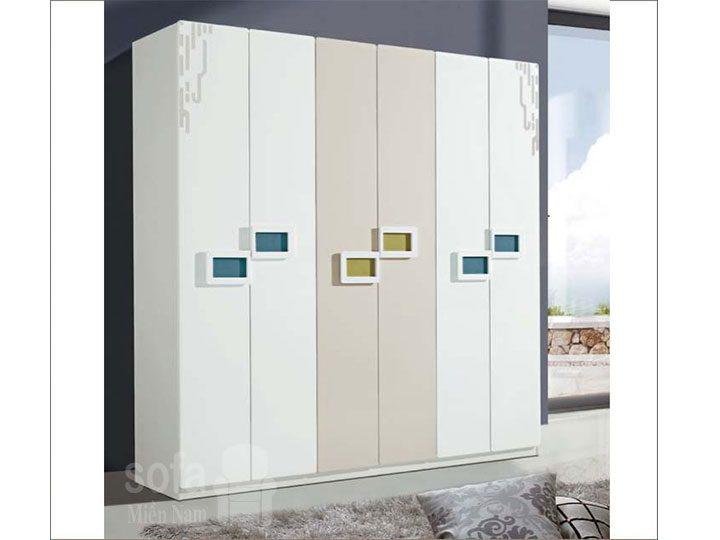 Tủ quần áo hiện đại nhập khẩu phối màu nhẹ nhàng có điểm nhấn về màu sắc và tay cầm đẹp hài hòa TA005