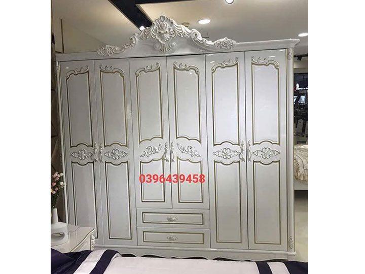 Tủ quần áo kiểu tân cổ điển nhập khẩu màu trắng rất sang trọng TA010