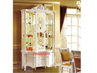 Tủ rượu nhập khẩu gỗ mặt kính đẹp giá rẻ kiểu dáng hiện đại hoa văn trang trí rất sang trọng TR003