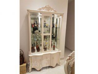 Tủ rượu nhập khẩu gỗ mặt kính đẹp giá rẻ kiểu dáng hiện đại hoa văn trang trí rất sang trọng TR004