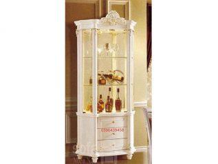 Tủ rượu nhập khẩu gỗ mặt kính đẹp giá rẻ kiểu dáng tân cổ điển màu sắc trang nhã nhiều chỗ để đồ TR013