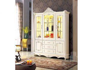 Tủ rượu nhập khẩu gỗ mặt kính đẹp giá rẻ kiểu dáng hiện đại màu sắc trang nhã nhiều chỗ để đồ TR017