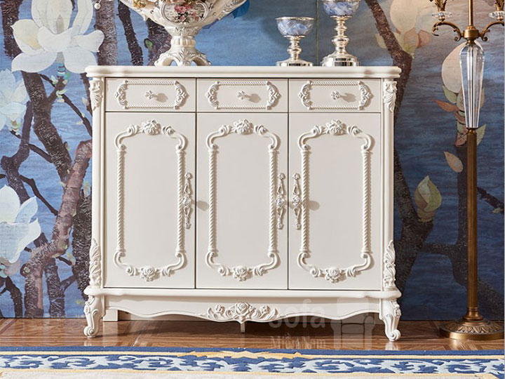 Mẫu tủ giày dép gỗ tân cổ điển nhập khẩu màu trắng hoa văn tinh xảo rất đẹp và sang trọng TG002