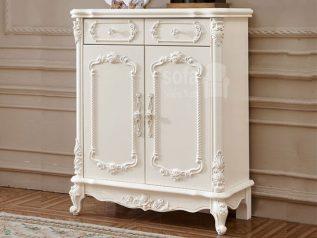 Mẫu tủ giày dép gỗ tân cổ điển nhập khẩu 2 cánh màu trắng hoa văn tinh xảo rất đẹp và sang trọng TG003