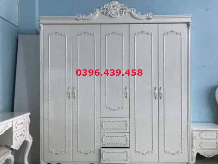 Tủ quần áo kiểu tân cổ điển nhập khẩu màu trắng 5 cánh trang trí rất sang trọng TA010